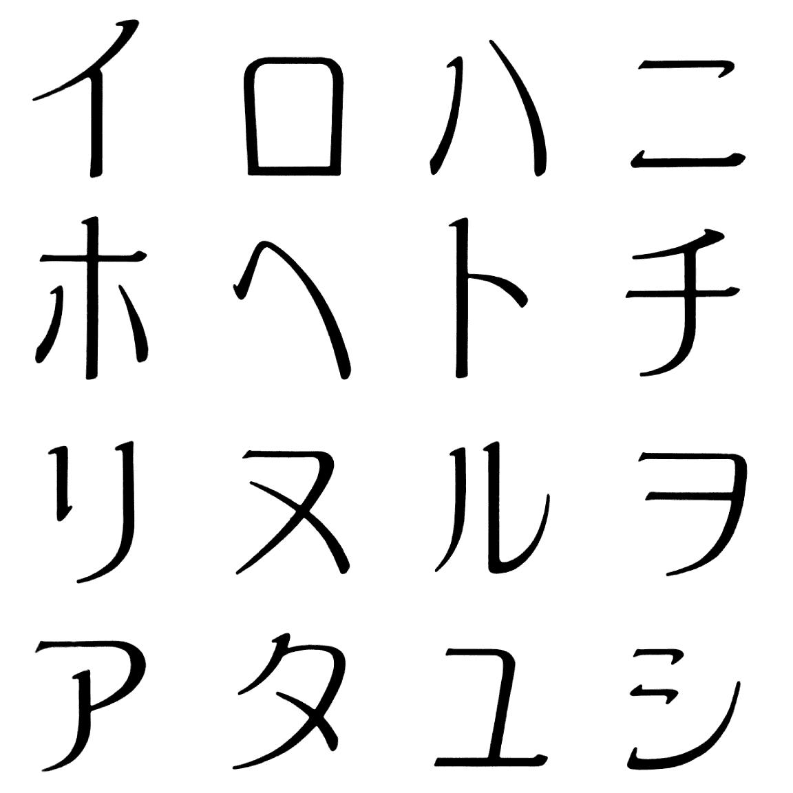 アラタ KA 字形見本