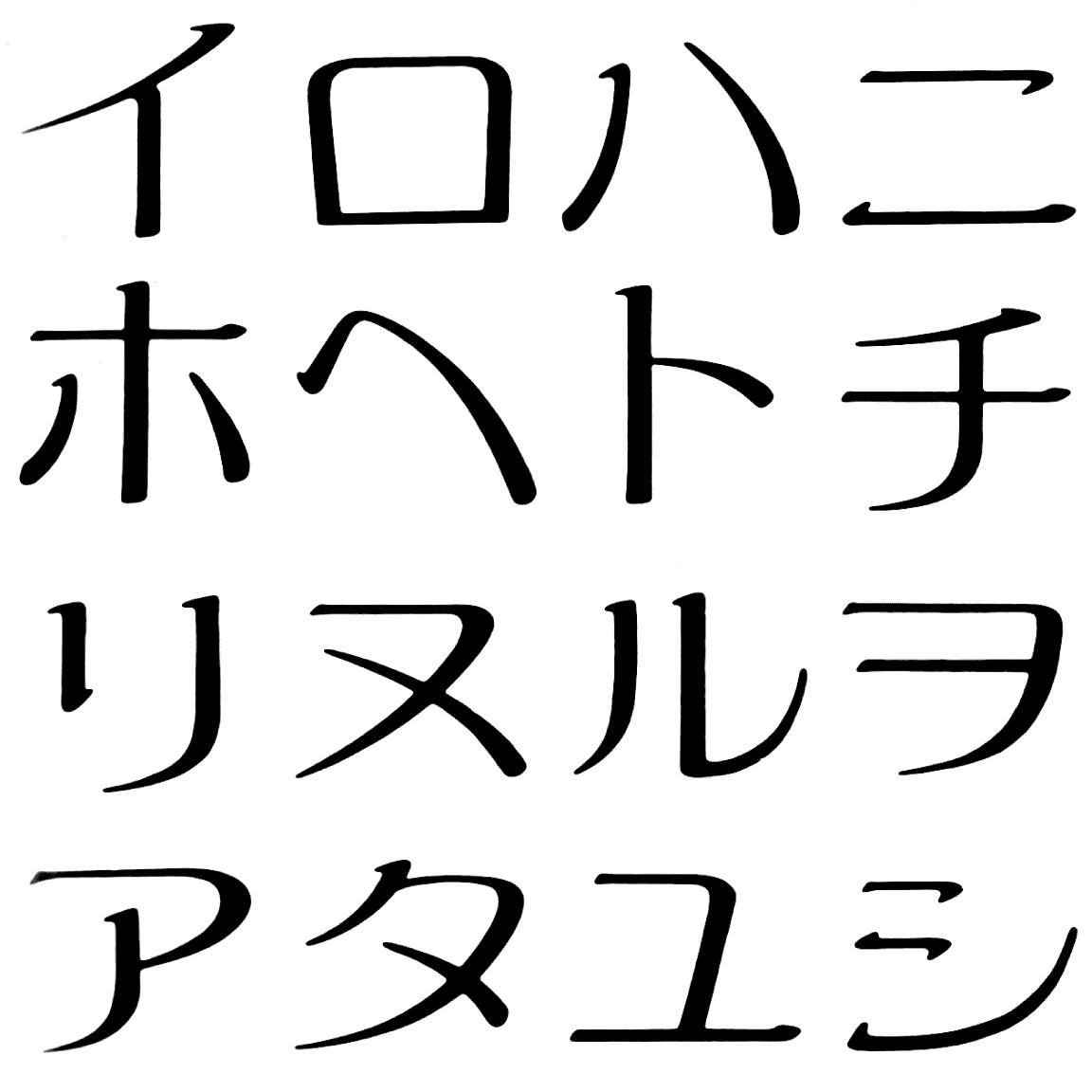 アラタ全角 KC 字形見本